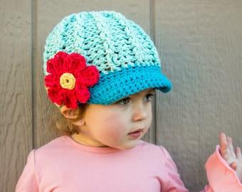Hat Newsboy | Cotton Crochet | Brimmed Hat | Flower Hat | Childrens Hats | Kids| Summer Hat | Newsboy Cotton Hat | Peaked Cap| Crochet Hat