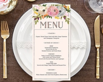 "Menu - DIY Wedding Menu - Rustic Wedding - DIY Shower Menu - 4"" x 8"" Menu - Bridal Shower Menu - Printable Menu - Sweet Blooms Wedding Menu"