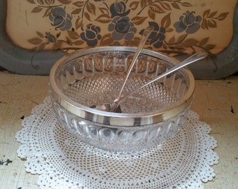 Cut Glass Salad Bowl Set with Silver Plate Trim Sheffield England