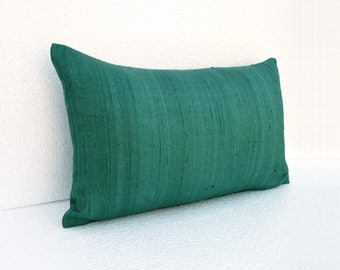 """Silk pillow, teal color,  lumbar pillowcover, size 12""""X20"""", other sizes available"""