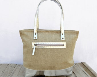 Linen and faux leather tote bag, natural with silver, classic everyday bag.