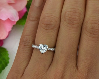 1 ctw, Heart Solitaire Ring, Engagement Ring, Half Eternity Band, Wedding Ring, Man Made Diamond Simulants, Promise Ring, Sterling Silver