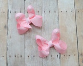 Baby hair bows, small hair clips, pigtail bows, pink clippies