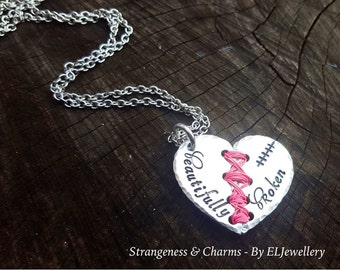 Hand stamped 'Beautifully Broken' Aluminium Broken Heart Necklace, Unique, Stitched Heart, Handmade, Wirework,Unique, Metal Word Jewellery