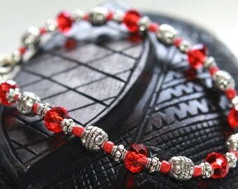 Red Crystal Bangle Bracelet, Red and Silver Bead Bracelet, Bohemian Crystal Bracelet, Gypsy Bracelet, Blood Red Bracelet, Crystal Bracelet