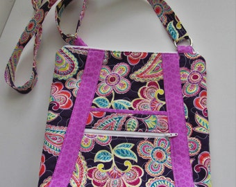 Quilted Crossbody purse, with stylish pockets, and an adjustable strap. Purple Paisley, Coral, Pink