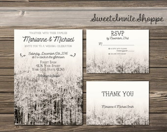 Winter Mountain Wedding Invitation Set,  Rustic Forest Invitation, RSVP, Thank You, Rustic Winter Trees Invitation, Rustic  Winter Invite