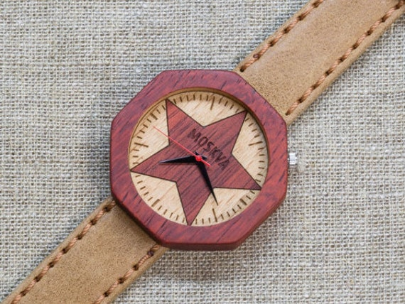 African Padauk minimal wood watch , Majestic Watch, Sandy  Vintage Genuine Leather strap + Any Engraving / Gift Box. Anniversary  gift