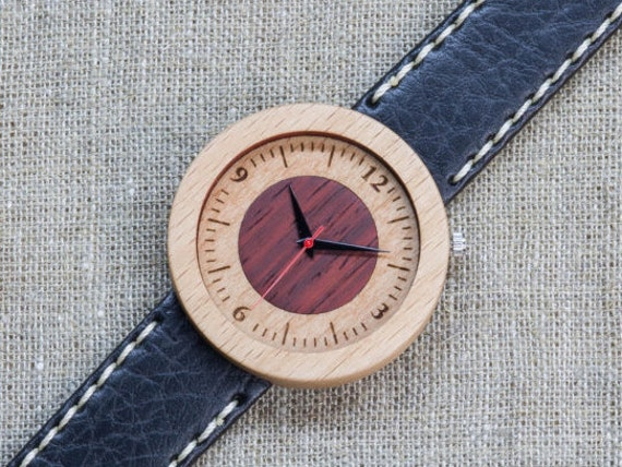 White red beech minimal wood watch , Majestic Watch,  Black and white  Genuine Leather strap + Any Engraving / Gift Box. Anniversary  gift