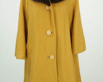 Vintage 1960s Mustard Yellow Swing Coat Size L