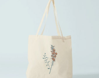 Boho Tote Bag, Herbarium, orange and blue flowers, Gift for woman.