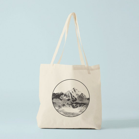 Mountains black and white tote bag, graphic canvas bag, gift for husband, gift for boyfriend, novelty gift for coworker.