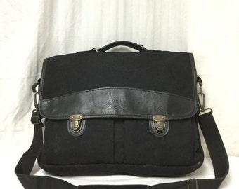 Free Ship, Eddie Bauer,Messenger bag,Leather,Canvas,Shoulder Bag,top handle,black