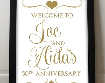 """Anniversary Sign Printable - Wedding Sign - 50th Anniversary - Housewarming Sign - Typography """"Sweetheart"""" Antique Gold 