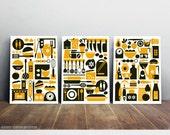 10% Off for three prints, Kitchen set art prints, Scandinavian design, Mid century modern, Pop art home decor