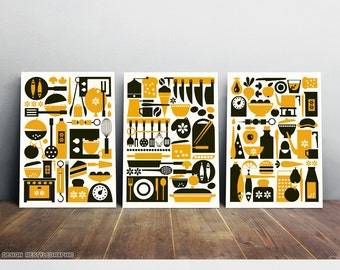 10% Off for three prints, Kitchen set art prints, Scandinavian design, Mid century modern, Pop art home decor