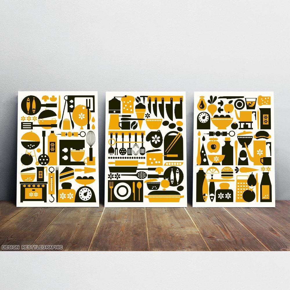 Kitchen Set Scandinavian: 10% Off For Three Prints Kitchen Set Art Prints Scandinavian