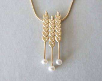 Gold Pearl Necklace - pearl necklace , gold wheat necklace , valentine's day gift , gold wheat necklace , for her , mother's day gift