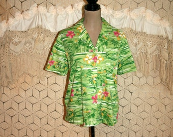 Green Hawaiian Shirt Women Short Sleeve Blouse Boxy Tropical Beach Clothing Palm Trees Floral Lime Casual Summer Top Resort Womens Clothing