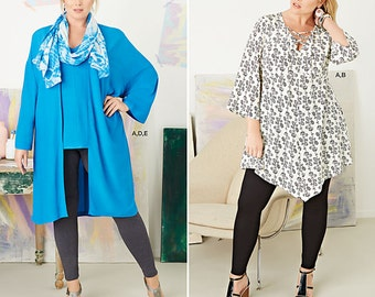 Women Plus Size Tunic, Top, Kimono and Knit Leggings. Size 18w-24w. Pattern is new and uncut.