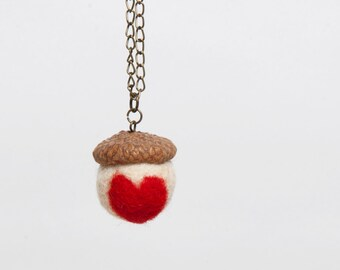 Long necklace with red heart acorn Pendant