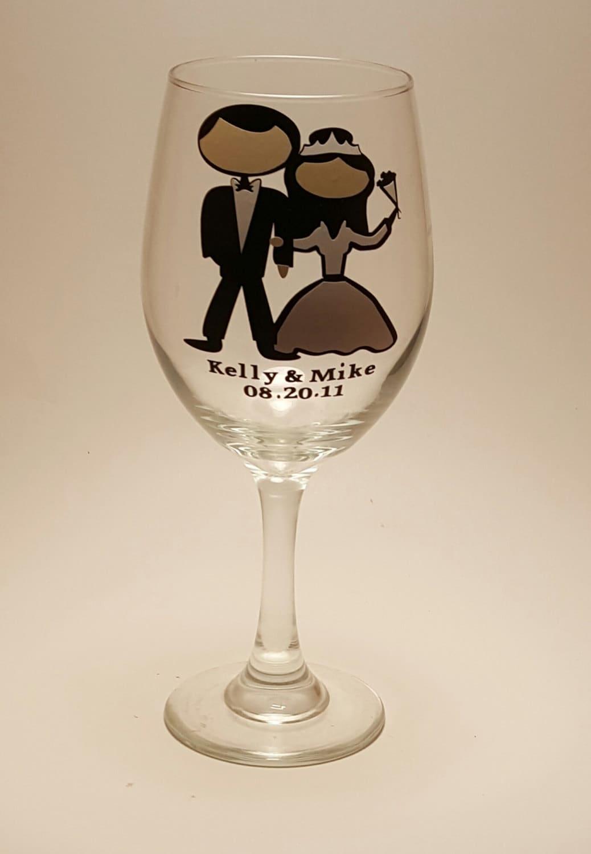 Fun Bride And Groom Wine Glass Wedding Personalized Custom Cheap Favor