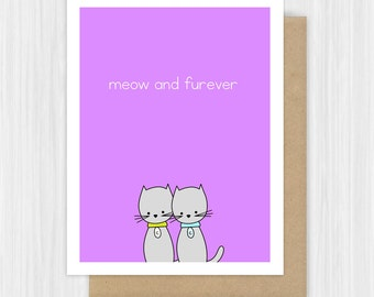 Cat Pun Love Card Girlfriend Boyfriend Wife Husband Wedding Engagement Romantic Anniversary Birthday Cute Handmade Greeting Cards Her Him