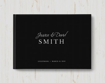 Modern Wedding Guest Book, Black and White, Horizontal Guest Book, Personalized Guest Book, Custom Guest Book, 8.5 x 11 inches, Style 8