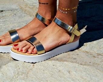 "Leather women Sandal shoes ""Aphrodite"" , summer sandals, leather shoes,gold sandals, white sole, genuine leather sandals"