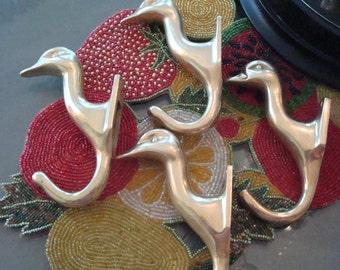 Vintage Brass Duck Head Hooks - Set of (4) - Excellent Condition!!
