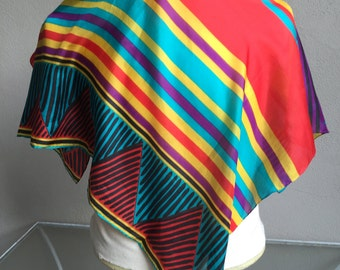 "Silk Scarf Southwestern Tribal Turquoise, Purple, Yellow, Red  Large Square 30"" by 32"""