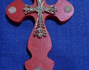 Wooden Cross Magnet,Red Cross Magnet,Handmade Wood Cross,Wood Cross Decoration,Refrigerator Magnet,Handpainted Cross