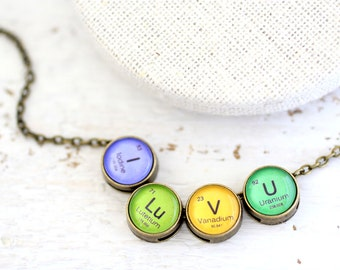 I love you, I love you Necklace, Periodic Table, I Lu V U, Periodic Table Necklace, Mendeleev Table, Science Necklace, Chemistry Necklace