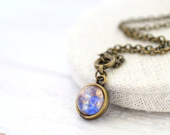 Double Sided Mercury Necklace, Two Sided Mercury, Two Sides Planet Necklace, Mercury Necklace, Mercury, Space Necklace, Solar System, Galaxy