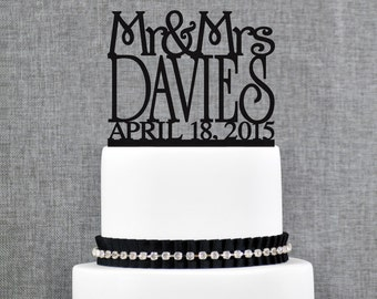 Mr and Mrs Cake Topper Custom Colors, Personalized Last Name Topper, Elegant Modern Topper, Perfect Engagement Gift, Bridal Present (T011)