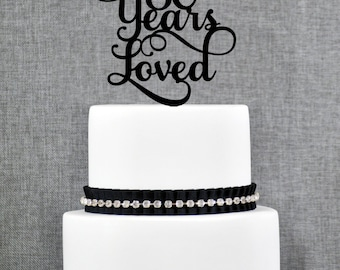 80 Years Loved, Classy 80th Birthday Cake Topper, Elegant Eightieth Cake Topper- (T245-80)
