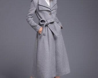 Gray Winter Coat Women Double Collar Swing Trench Coat