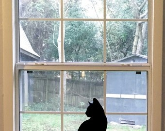 Cat Wall Decal, Large Left-facing Black Cat Silhouette Vinyl Decal