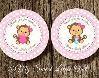 Monkey label - monkey birthday - pink monkey baby shower - girl monkey tag - pink monkey sticker - monkey printable - pink cute monkey