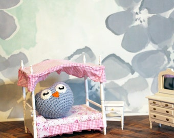 Powder Blue Owl Stuffed Animal, Crochet Amigurumi Plush Toy