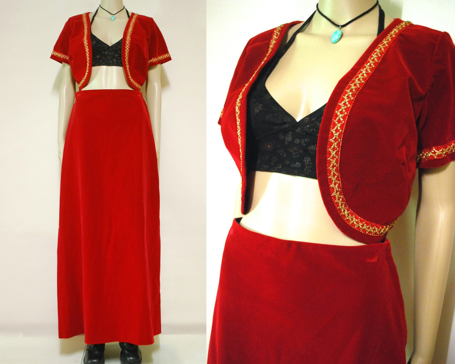 70s vintage scarlet red velvet designer bolero skirt two piece for Designer bolero
