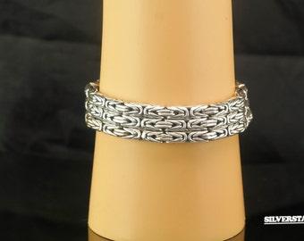 """Sterling Silver Designer Byzantine Triple Link Bracelet 8"""""""