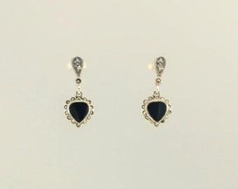 Sterling Silver Onyx & Marcasite Heart Stud Earrings
