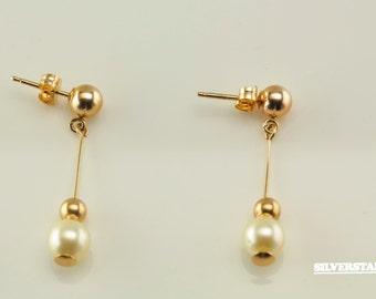 14k Gold Vintage Pearl and Bead Earrings
