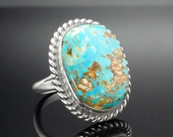 Large Natural Blue Turquoise Ring Size 7 Southwest Native American