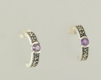 Sterling Silver Amethyst & Marcasite Half Hoop Earrings
