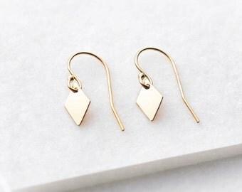 Tiny diamond drop earrings - diamond charm earrings - tiny gold earrings - minimal earrings - simple silver earrings
