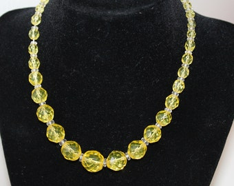 Vintage Canary Yellow Glass Faceted Beaded Necklace, Choker, Very Old, Jewelry