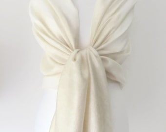 Cream Ivory Pashmina , Paisley Scarf Wrap Shawl, Large Scarf ,Bridesmaids Wrap