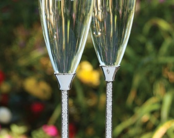 Crystal Stem Champagne Flutes, Wedding Champagne Flutes, Wedding Toasting Flutes, Initial, Custom, Engraved Champagne Glasses, Engagement
